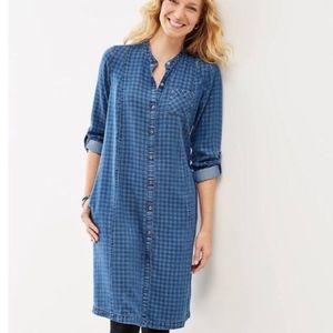J. JILL Lyocell Blue Plaid Denim Shirtdress Size S